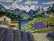 Alps Drawings - Lavender Fields by Robert Thornton