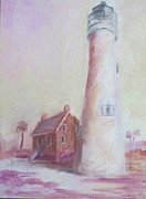 Gulf Of Mexico Painting Originals - Lavender Lighthouse by Susan Richardson