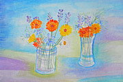 Hand Crafted Paintings - Lavender Marigold Dreaming by Jill Armstrong