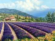 Provence Village Painting Prints - Lavender Print by Michael Swanson