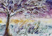 Snow-covered Landscape Painting Prints - Lavender Morning Print by Mary Wolf