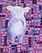 Piglet Paintings - Lavender Piglet by Donna Howard