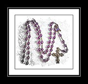 Rosary Framed Prints - Lavender Prayer Beads - Cancer - Prayer - Hope - Awareness Framed Print by Barbara Griffin
