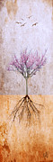 Tree Roots Mixed Media Prints - Lavender Redbud and Birds Print by Wing and Ward Studios