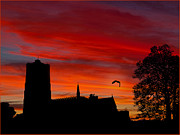Sunset Posters Digital Art Posters - Lavenham Church At Sunset Poster by Peter Chapman