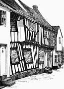 Historic Home Drawings Framed Prints - Lavenham Timber Framed Print by Shirley Miller
