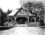 Pen And Ink Drawing Of Franklin Tennessee Drawings Prints - Lawn Chair Theater in Leipers Fork Print by Janet King