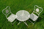 Table White Framed Prints - Lawn Furniture Framed Print by Olivier Le Queinec