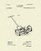 Mower Prints - Lawn Mower 1893 Patent Art Print by Prior Art Design