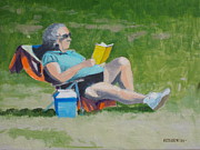 Lawn Chair Posters - Lawn Reading Poster by Robert Rohrich