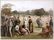 Net Drawings Prints - Lawn Tennis 1887 Print by Granger