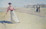 Sport Paintings - Lawn Tennis on the Normandy Coast  by Albert Lynch