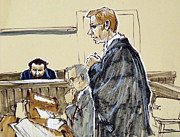 Lawyer Drawings - Lawyer and accused by Armand Roy
