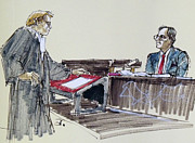 Lawyer Drawings - Lawyer questioning witness by Armand Roy