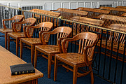 Empty Chairs Prints - Lawyer - The Courtroom Print by Paul Ward