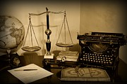 Attorney Photos - Lawyer - The Lawyers Desk in black and white by Paul Ward