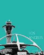 Skyline Print Digital Art Metal Prints - LAX Spider Teal Metal Print by DB Artist