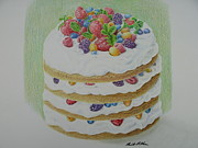 Food Drawings - Layered Fruit Cake by Brent  Mileham