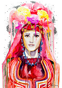 Watercolor Portrait. Prints - Lazarka Print by Lyubomir Kanelov