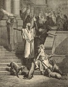 Bible Drawings Prints - Lazarus and the Rich Man Print by Antique Engravings
