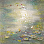 Water Lilies Paintings - Lazing Lilies by Victoria Primicias