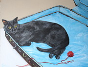 Good Luck Painting Metal Prints - Lazy Black Cat Metal Print by Jean Walker