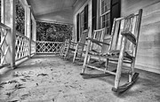 Rocking Chairs Photos - Lazy Days Black and White by Steve Reese
