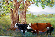 Cattle Pastels Framed Prints - Lazy Days Framed Print by Mitzi Nelson