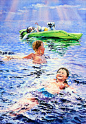 Water Sports Art Print Paintings - Lazy Hazy Crazy Days by Hanne Lore Koehler