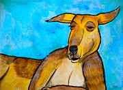 Smiling Mixed Media Prints - Lazy Roo Print by Debi Pople