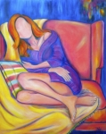 Sweater Painting Originals - Lazy Sunday by Debi Pople