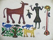 Indian Tribal Art Paintings - Lb 193 by Ladoo Bai