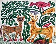 Indian Tribal Art Paintings - Lb 195 by Ladoo Bai