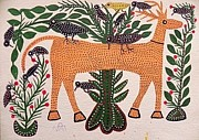 Indian Tribal Art Paintings - Lb 197 by Ladoo Bai