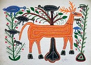 Indian Tribal Art Paintings - Lb 208 by Ladoo Bai