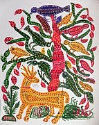 Indian Tribal Art Paintings - Lb 210 by Ladoo Bai