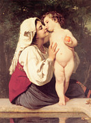 The Kiss Photography - Le Baiser The Kiss  by William Bouguereau