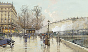 City Scene Drawings Prints - Le Boulevard Pereire Paris Print by Eugene Galien-Laloue