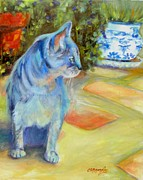 Chris Brandley Paintings - Le Chat Bleu by Chris Brandley