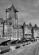 Boardwalks Photo Posters - Le Chateau Frontenac  bw Poster by Mel Steinhauer
