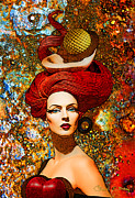 Staley Mixed Media Posters - Le Cheveux Rouges Poster by Chuck Staley
