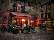 Night Cafe Digital Art Prints - Le Consulat Print by Douglas J Fisher