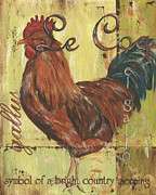 Farm Rooster Painting Framed Prints - Le Coq Framed Print by Debbie DeWitt