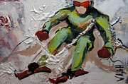 Ski Painting Originals - Le depassement by Marie Walsh