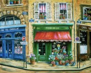 France Doors Painting Posters - Le Fleuriste Poster by Marilyn Dunlap