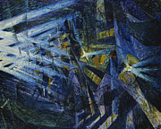 Black Light Blue Prints - Le Forze di una Strada Print by Umberto Boccioni