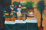 Fruit Stand Paintings - Le Fruitier by Barbara Lynn Dunn