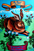 Alizarin Crimson Paintings - Le Grand Lapin Anarchie by Genevieve Esson