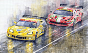 Watercolor Paintings - Le Mans 2011 GTE Pro Chevrolette Corvette C6R vs Ferrari 458 Italia by Yuriy  Shevchuk