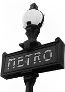 Black And White Paris Posters - Le Metro Poster by Khristian Howell